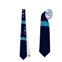 Who Is Outside Ugly Holiday Christmas Blue Background Neckties (One Side)