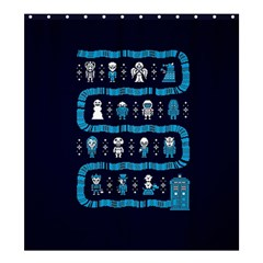 Who Is Outside Ugly Holiday Christmas Blue Background Shower Curtain 66  X 72  (large)
