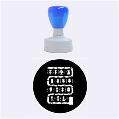 Who Is Outside Ugly Holiday Christmas Blue Background Rubber Round Stamps (medium)