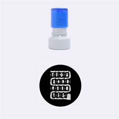 Who Is Outside Ugly Holiday Christmas Blue Background Rubber Round Stamps (small)