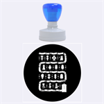 Who Is Outside Ugly Holiday Christmas Blue Background Rubber Round Stamps (Large) 1.875 x1.875  Stamp