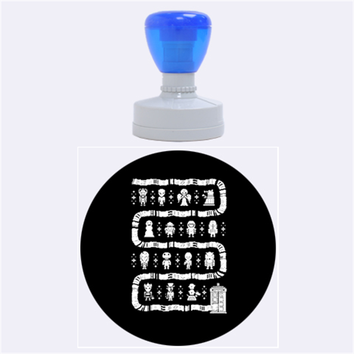 Who Is Outside Ugly Holiday Christmas Blue Background Rubber Round Stamps (Large)