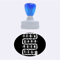 Who Is Outside Ugly Holiday Christmas Blue Background Rubber Oval Stamps