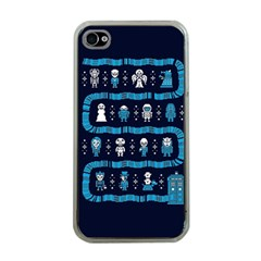 Who Is Outside Ugly Holiday Christmas Blue Background Apple Iphone 4 Case (clear)