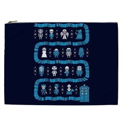 Who Is Outside Ugly Holiday Christmas Blue Background Cosmetic Bag (xxl)