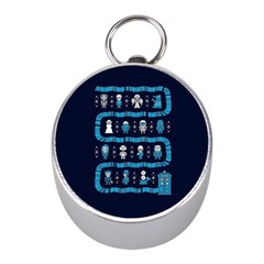 Who Is Outside Ugly Holiday Christmas Blue Background Mini Silver Compasses