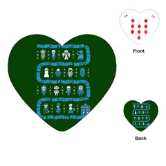 Who Is Outside Ugly Holiday Christmas Green Background Playing Cards (heart)