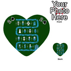 Who Is Outside Ugly Holiday Christmas Green Background Playing Cards 54 (Heart)