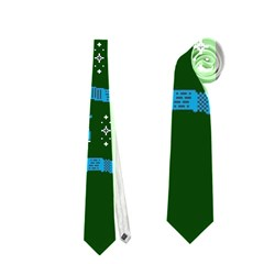 Who Is Outside Ugly Holiday Christmas Green Background Neckties (two Side)