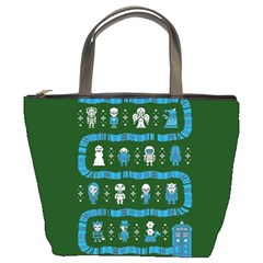 Who Is Outside Ugly Holiday Christmas Green Background Bucket Bags