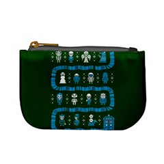 Who Is Outside Ugly Holiday Christmas Green Background Mini Coin Purses