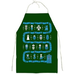 Who Is Outside Ugly Holiday Christmas Green Background Full Print Aprons