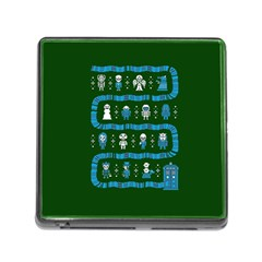 Who Is Outside Ugly Holiday Christmas Green Background Memory Card Reader (square)
