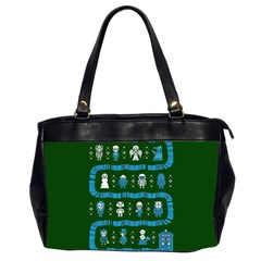Who Is Outside Ugly Holiday Christmas Green Background Office Handbags (2 Sides)