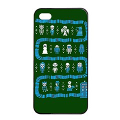 Who Is Outside Ugly Holiday Christmas Green Background Apple Iphone 4/4s Seamless Case (black)