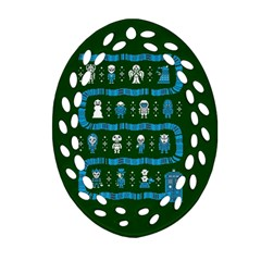 Who Is Outside Ugly Holiday Christmas Green Background Oval Filigree Ornament (2 Side)