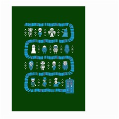 Who Is Outside Ugly Holiday Christmas Green Background Large Garden Flag (two Sides)