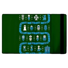 Who Is Outside Ugly Holiday Christmas Green Background Apple Ipad 2 Flip Case