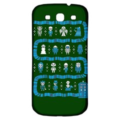 Who Is Outside Ugly Holiday Christmas Green Background Samsung Galaxy S3 S Iii Classic Hardshell Back Case