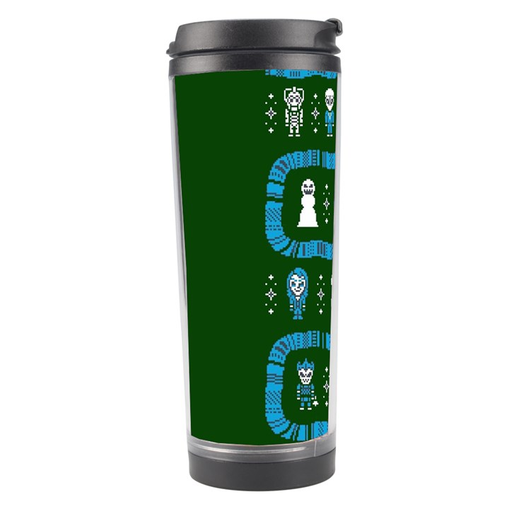 Who Is Outside Ugly Holiday Christmas Green Background Travel Tumbler
