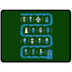 Who Is Outside Ugly Holiday Christmas Green Background Double Sided Fleece Blanket (large)