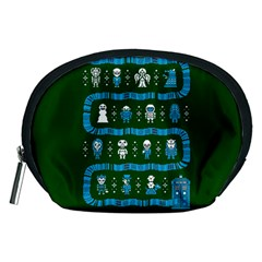 Who Is Outside Ugly Holiday Christmas Green Background Accessory Pouches (medium)