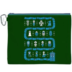 Who Is Outside Ugly Holiday Christmas Green Background Canvas Cosmetic Bag (xxxl)