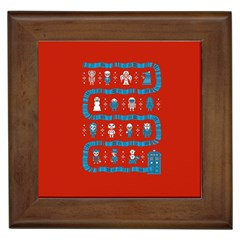 Who Is Outside Ugly Holiday Christmas Red Background Framed Tiles