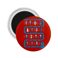 Who Is Outside Ugly Holiday Christmas Red Background 2 25  Magnets