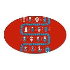 Who Is Outside Ugly Holiday Christmas Red Background Oval Magnet