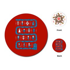 Who Is Outside Ugly Holiday Christmas Red Background Playing Cards (round)