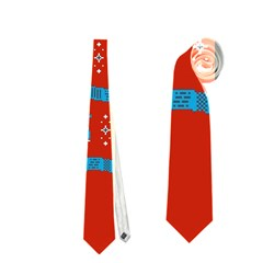 Who Is Outside Ugly Holiday Christmas Red Background Neckties (One Side)