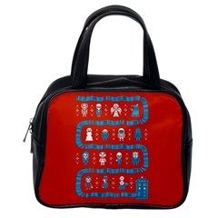 Who Is Outside Ugly Holiday Christmas Red Background Classic Handbags (one Side)