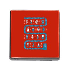 Who Is Outside Ugly Holiday Christmas Red Background Memory Card Reader (square)