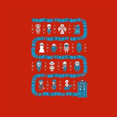 Who Is Outside Ugly Holiday Christmas Red Background Magic Photo Cubes
