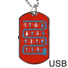 Who Is Outside Ugly Holiday Christmas Red Background Dog Tag Usb Flash (one Side)