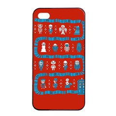 Who Is Outside Ugly Holiday Christmas Red Background Apple Iphone 4/4s Seamless Case (black)