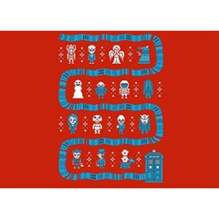 Who Is Outside Ugly Holiday Christmas Red Background Birthday Cake 3d Greeting Card (7x5)