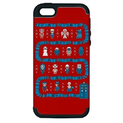 Who Is Outside Ugly Holiday Christmas Red Background Apple Iphone 5 Hardshell Case (pc+silicone)