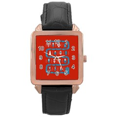 Who Is Outside Ugly Holiday Christmas Red Background Rose Gold Leather Watch