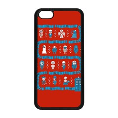 Who Is Outside Ugly Holiday Christmas Red Background Apple Iphone 5c Seamless Case (black)