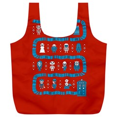 Who Is Outside Ugly Holiday Christmas Red Background Full Print Recycle Bags (l)