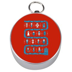 Who Is Outside Ugly Holiday Christmas Red Background Silver Compasses