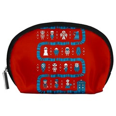 Who Is Outside Ugly Holiday Christmas Red Background Accessory Pouches (large)