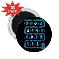 Who Is Outside Ugly Holiday Christmas Black Background 2.25  Magnets (100 pack)
