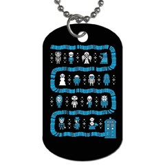 Who Is Outside Ugly Holiday Christmas Black Background Dog Tag (Two Sides)