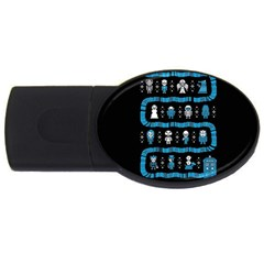 Who Is Outside Ugly Holiday Christmas Black Background USB Flash Drive Oval (1 GB)