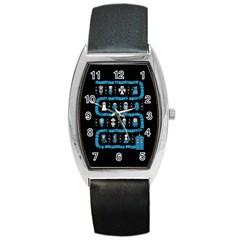 Who Is Outside Ugly Holiday Christmas Black Background Barrel Style Metal Watch