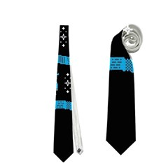 Who Is Outside Ugly Holiday Christmas Black Background Neckties (one Side)