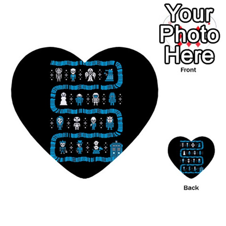 Who Is Outside Ugly Holiday Christmas Black Background Multi-purpose Cards (Heart)